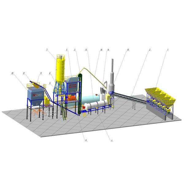 Асфальтобетонный завод с отдельно установленным накопительным бункером готовой смеси